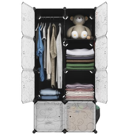 LANGRIA 8-Cube Curly Patterned Black Interlocking Modular Storage Organizer Shelving System Closet Wardrobe Rack with Translucent White Doors for Home Clothes Shoes ()
