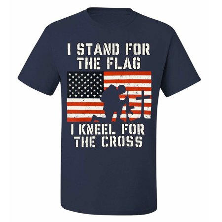 Men's T-Shirt I Stand for the Flag I Kneel for the Cross Patriotic Military Navy ()