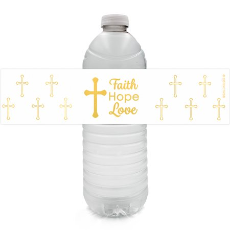 Baptism Party Water Bottle Labels, 24ct - Christening Baptism Decorations Party Favors, First Communion Party Supplies - 24 Count Sticker Labels](Christening Decorations)