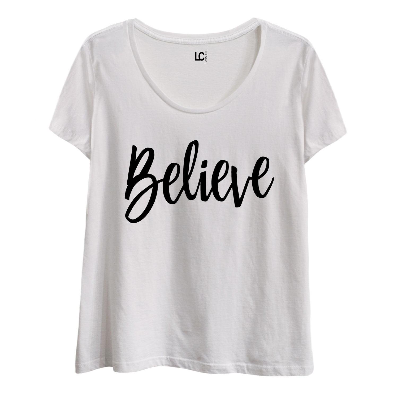 Believe-LADIES Plus Size Scoop Neck Tee