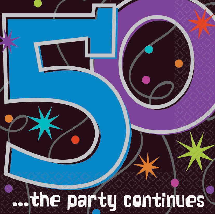 Amscan BB103472 The Party Continues 50Th Birthday Napkins