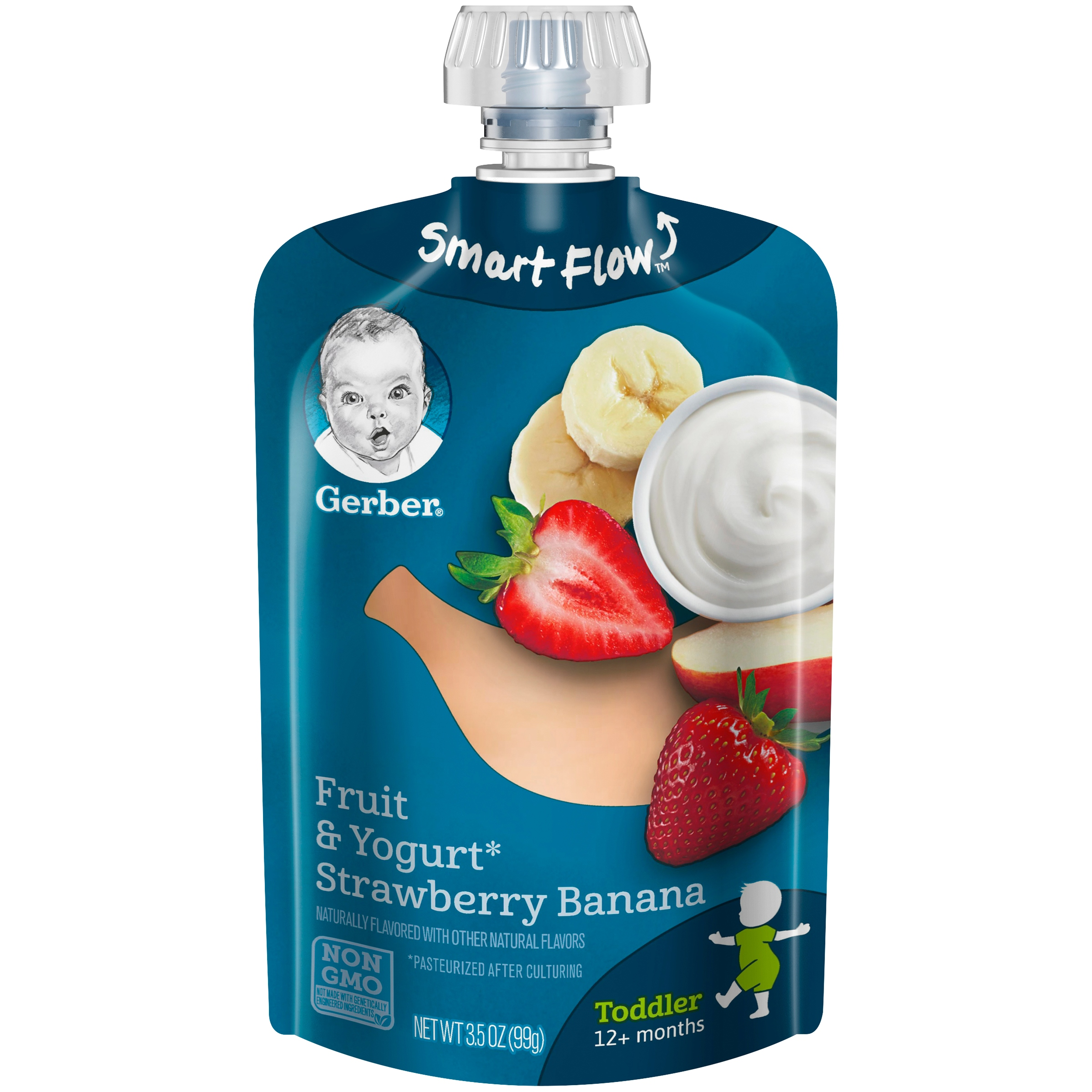 Gerber Toddler Food, Fruit & Yogurt Strawberry Banana, 3.5 oz. Pouches (Pack of 12)