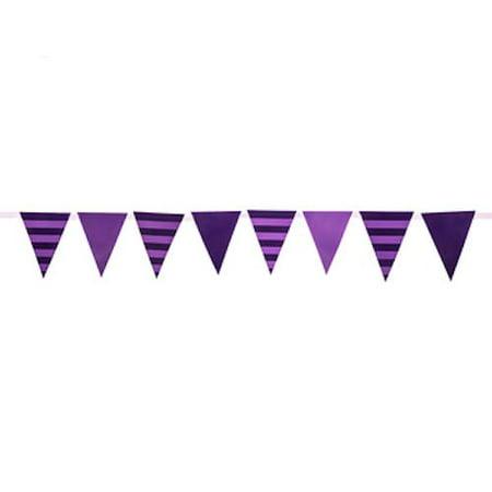 Purple Birthday Banner (Purple Striped Party Banner)
