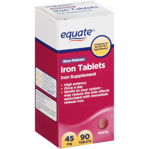 Equate Slow-Release Iron Tablets, 45mg, 90 count