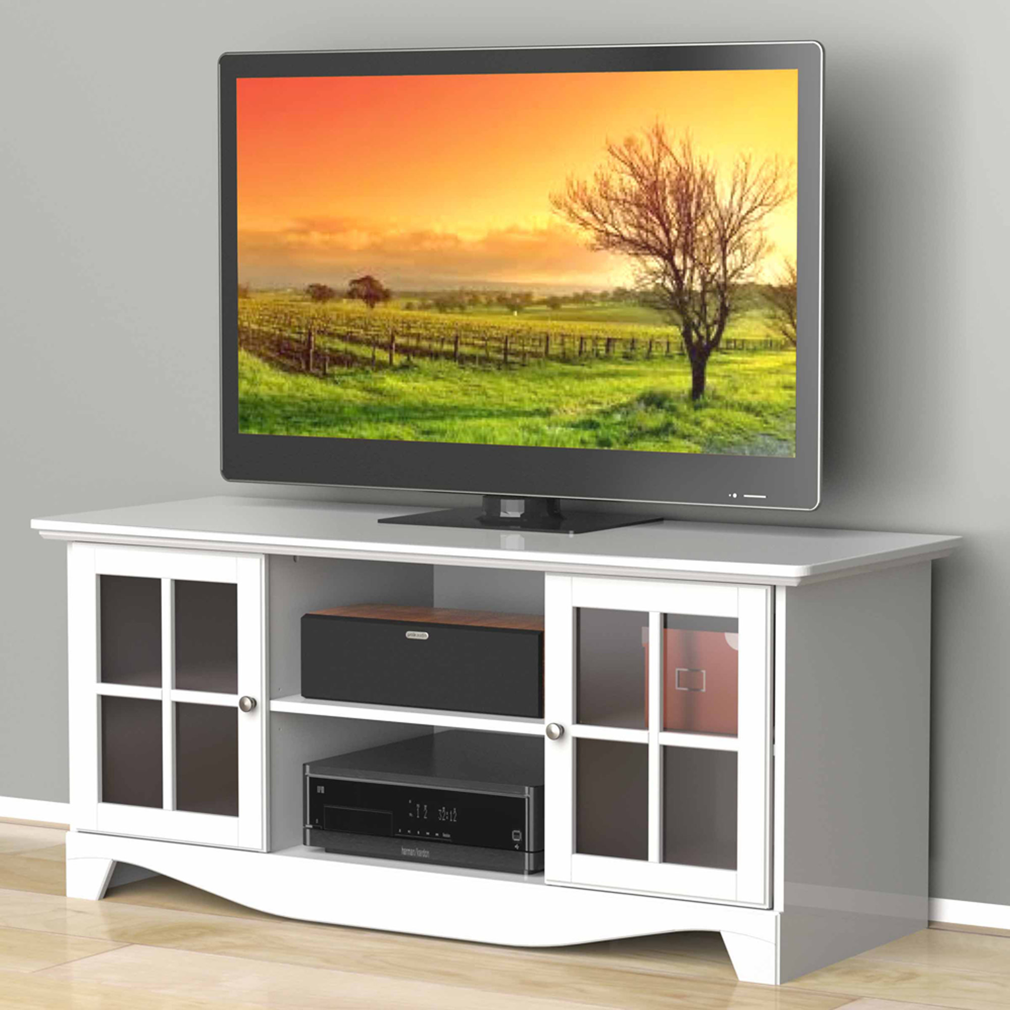 Nexera Pinnacle White HEC TV Stand for TVs up to 56""