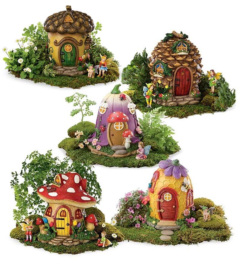 Fairy Village Collection: 5 Miniature Fairy Homes & Fairy Dolls by HearthSong