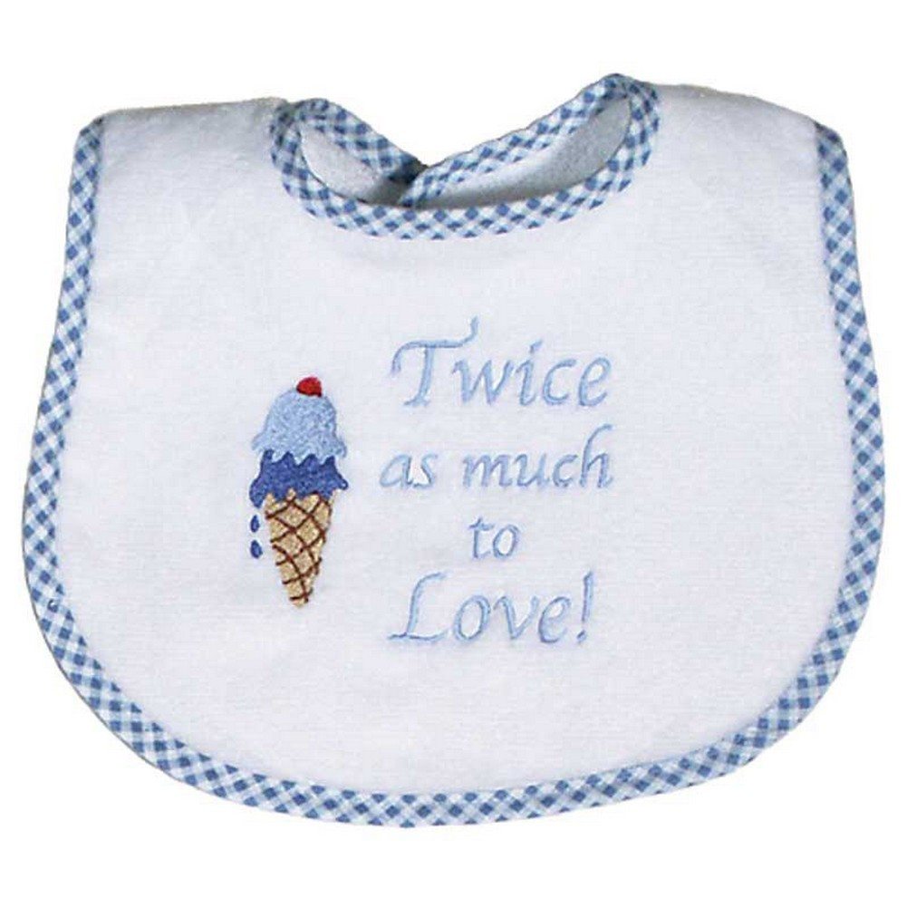 "Raindrops Baby Boys ""Twice As Much To Love"" Embroidered Bib, Blue"