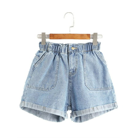 Elastic Waist Women Denim Shorts Casual Jeans Denim Womens Shorts