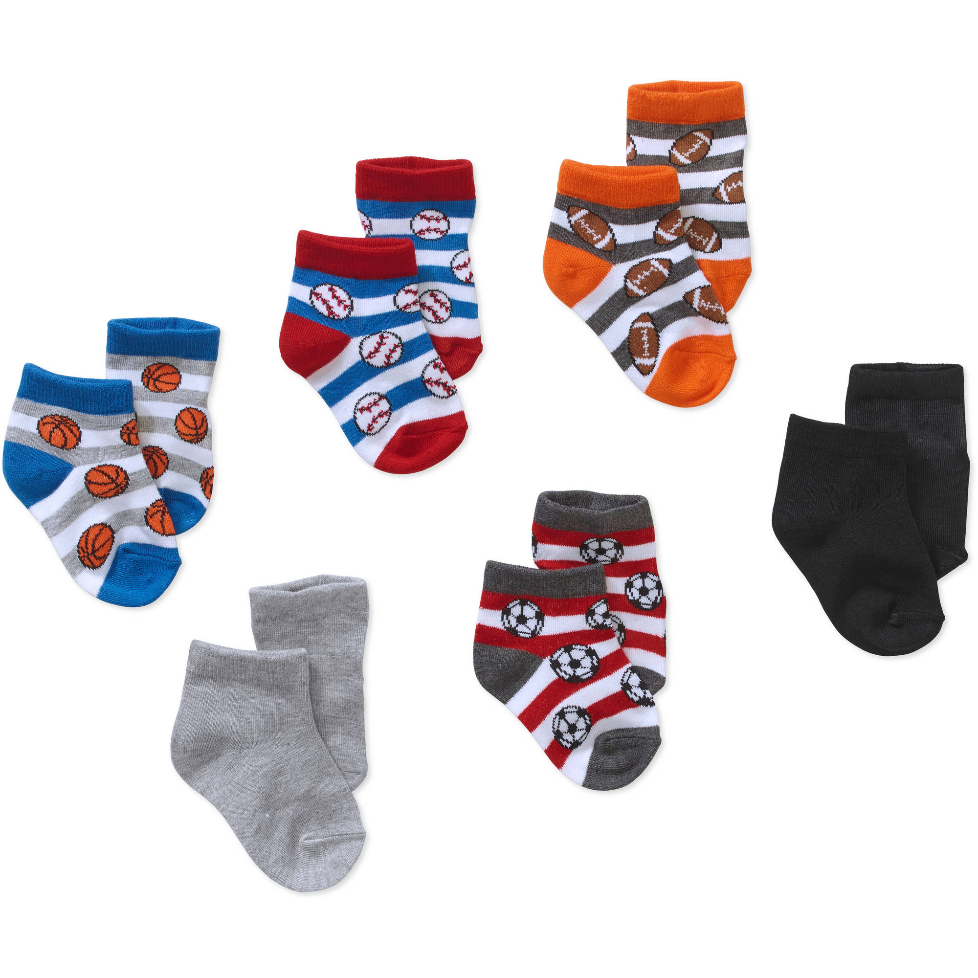 Garanimals Newborn to Toddler Baby Boy Shorty Baseball Print Socks, 6-Pack Ages 0-5T