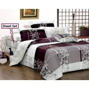 Swanson Beddings May 100% Cotton Sheet Set : Fitted Sheet, Flat Sheet and Two Matching Pillowcases (Queen)