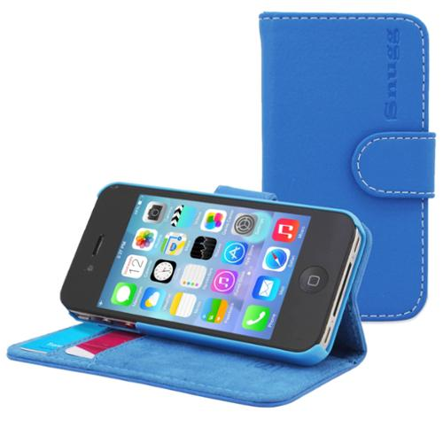 Snugg Electric Blue Leather iPhone 4/4S Flip Case