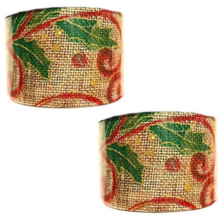 Christmas Holiday Burlap Glitter Leaves Gift Wrap Ribbon (2 Pack)
