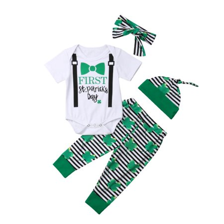 4Pcs Newborn Baby My 1st St. Patrick's Day Romper Pant Hat Headband Pant Sets for Toddler Girl Boy Cotton Outfit (First Communion Boy Clothes)