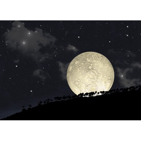 An artists illustration of a full moon rising behind a row of hilltop trees with a star filled sky as background Poster Print (8 x (Hilltop Mall Stores)
