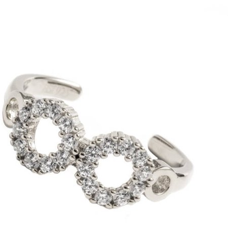 Pori Jewelers 18kt White Gold-Plated Sterling Silver Micro-Pave CZ Infinity Adjustable Toe Ring Cubic Zirconia White Gold Toe Ring