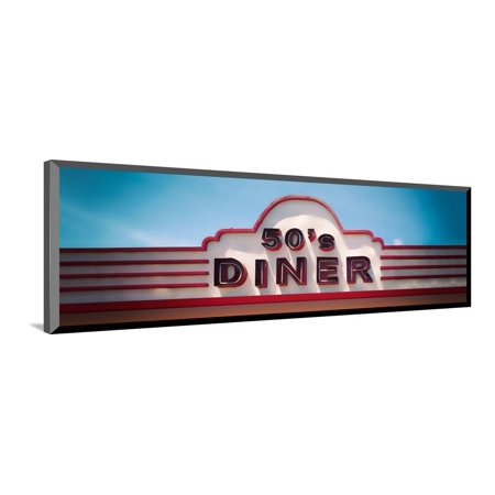 Low angle view of restaurant, 50s Diner, Baguio City, Luzon, Philippines, USA Wood Mounted Print Wall Art