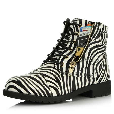 DailyShoes Women's Ankle Boots Combat Boot Low Heel Lace Up Zipped Pocket Booties Spring Exclusive Credit Card Bootie Susan-01 Zebra Pu 11 ()