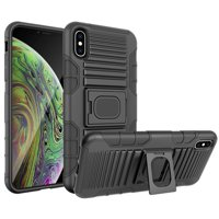 "iPhone Xs Max Case with Clip, Nakedcellphone Black Ring Grip Cover + Belt Hip Holster Stand [with Built-In Mounting Plate] for Apple iPhone Xs Max (Size 6.5"" model) (10s Max)"