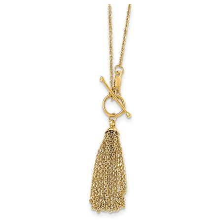 18 Inch 14k Yellow Gold Cable Chain Tassel Toggle Necklace
