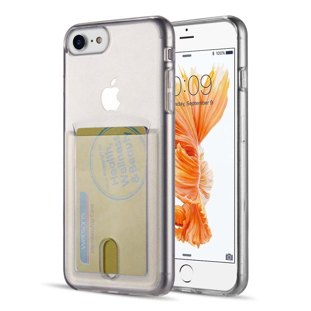 Apple iPhone 7/8 Case, by Insten Rubber TPU with Card Holder Slot Case Cover For Apple iPhone 7/8, Clear