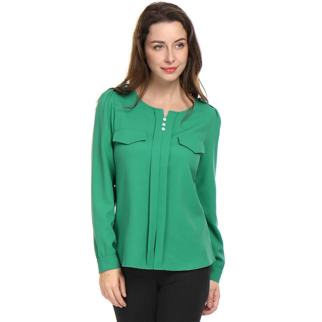 Allegra K Women Buttons Decor Mock Pockets Ruched Blouse