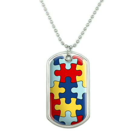 Autism Awareness Diversity Puzzle Pieces Military Dog Tag Pendant Necklace with Chain (Military Dog Tags For Men)
