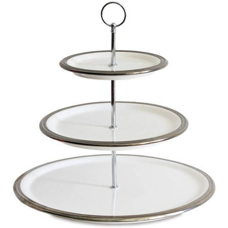 Generic Baum White And Silver Rim 3 Tier Food Server