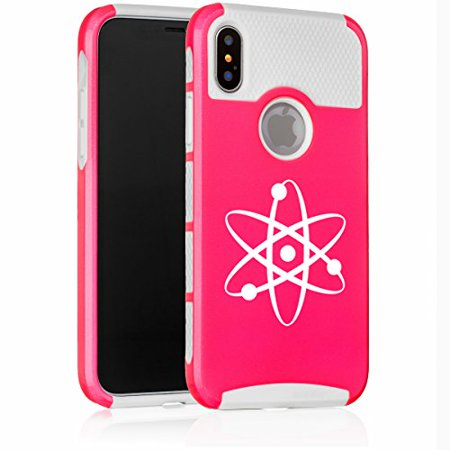 For Apple (iPhone X) Shockproof Impact Hard Soft Case Cover Atom Science Atheist (Hot Pink-White)