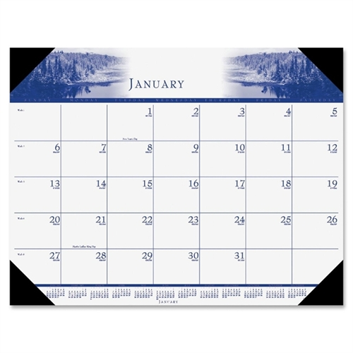 HOUSE OF DOOLITTLE                                 One-Color Photo Monthly Desk Pad Calendar, 22 x 17, 2012