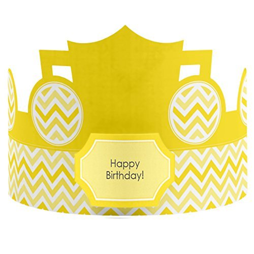 Chevron Yellow - Crown Happy Birthday Party Hats - 8 Count