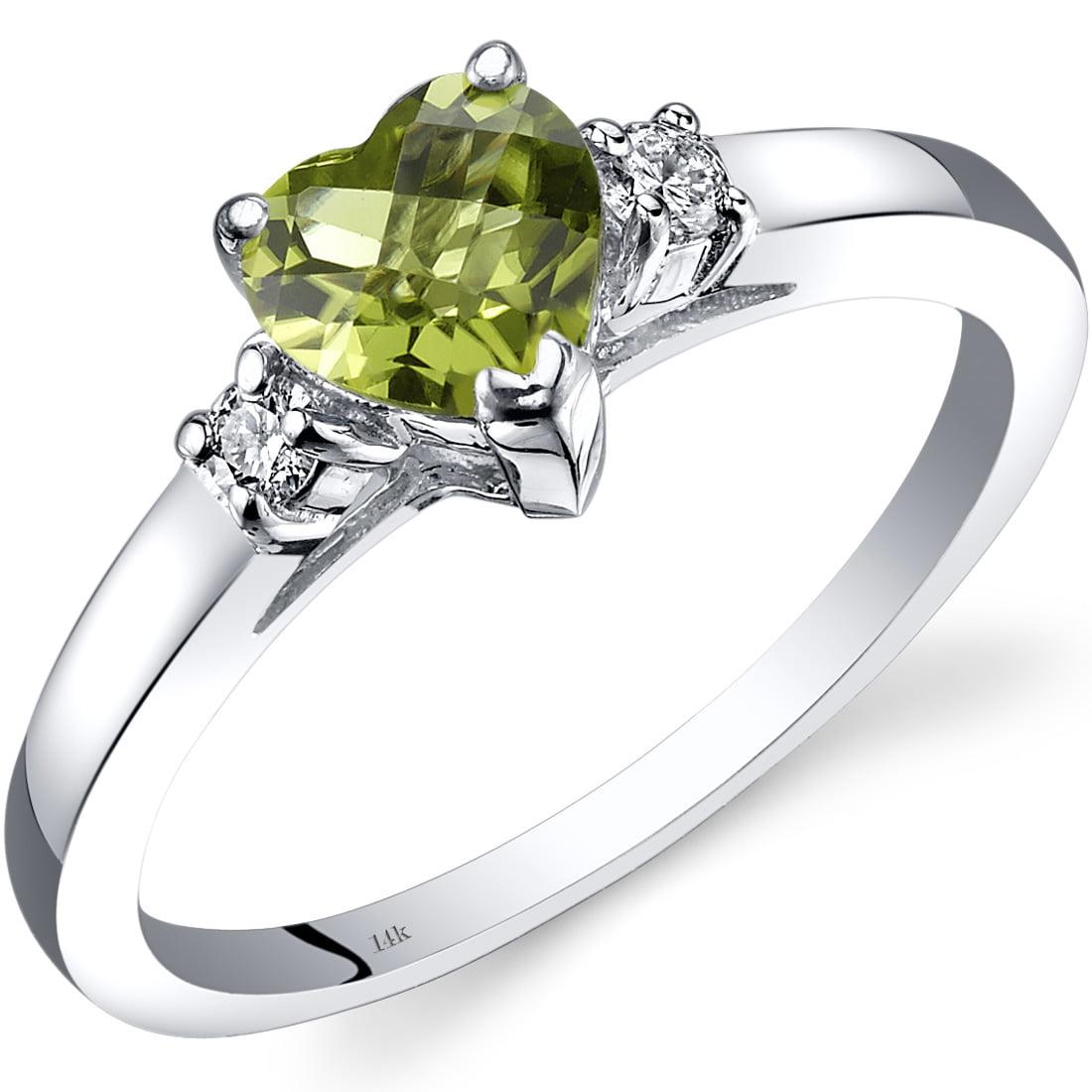 Peora 1 Carat T.G.W. Heart-Cut Peridot and Diamond Accent...
