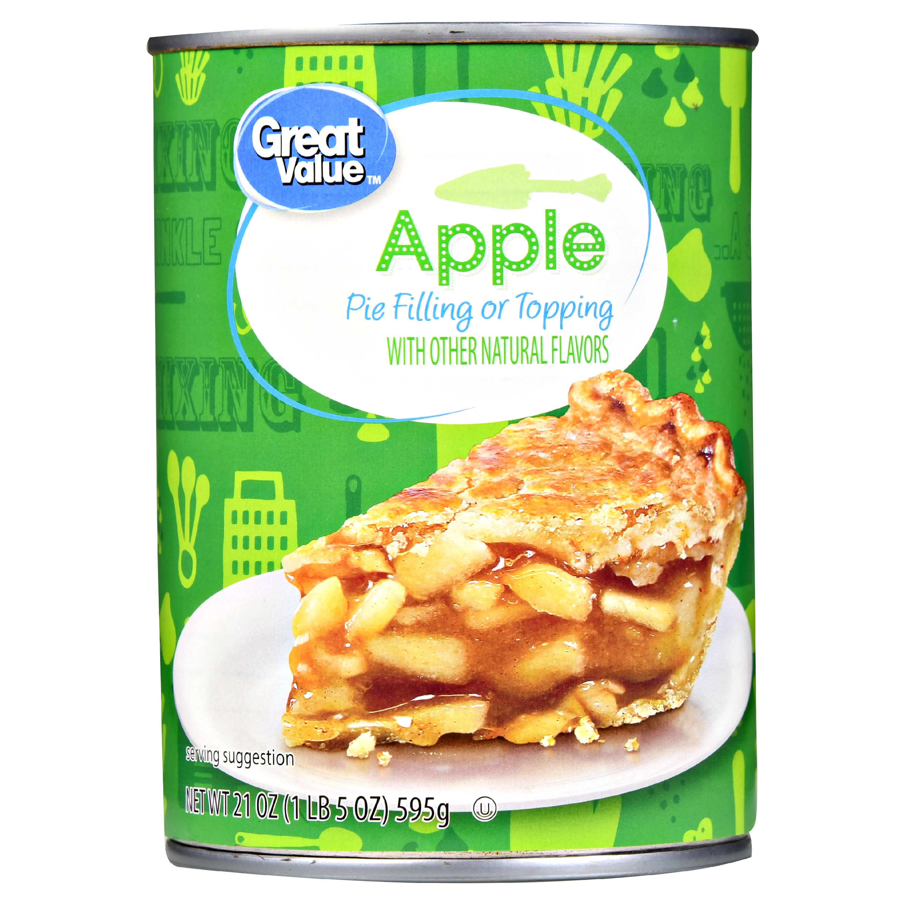 (4 Pack) Great Value Pie Filling or Topping, Apple, 21 oz