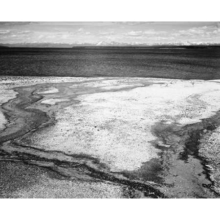 Yellowstone Lake - Hot Springs Overflow Yellowstone National Park Wyoming ca 1941-1942 Poster Print by Ansel Adams - Hot Springs Yellowstone National Park