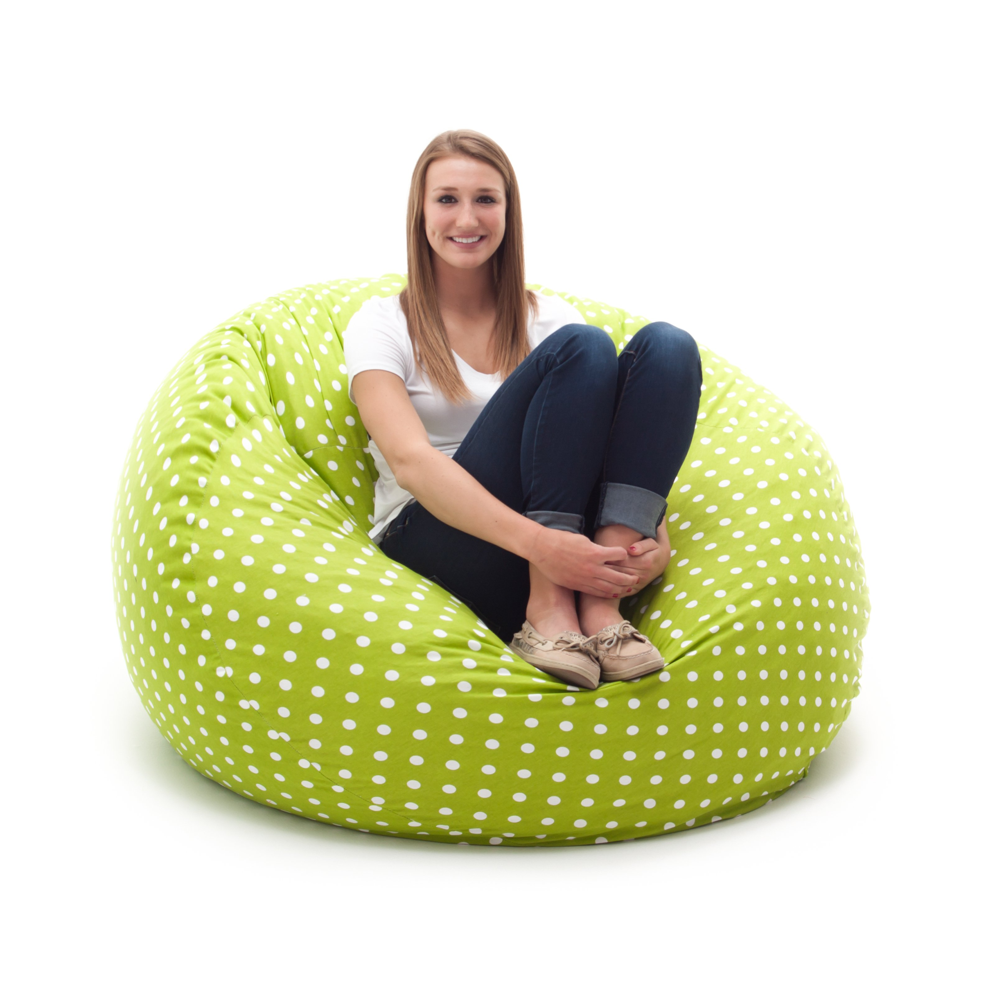 FUF 4 ft. Twill Bean Bag Lounger - Green with Small White Dots