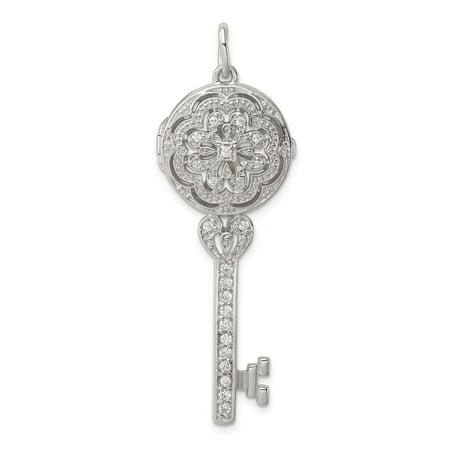 Solid 925 Sterling Silver CZ Key Locket Pendant