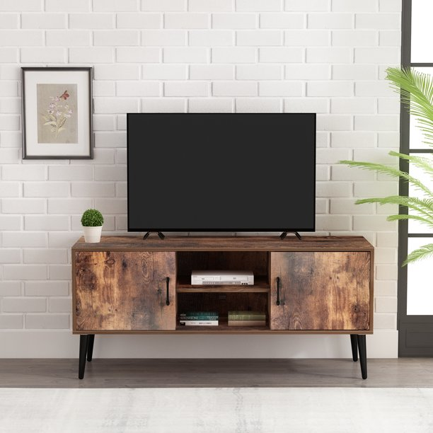 Mikolo Mid Century Modern Tv Stand For, Cable Box Storage Cabinet