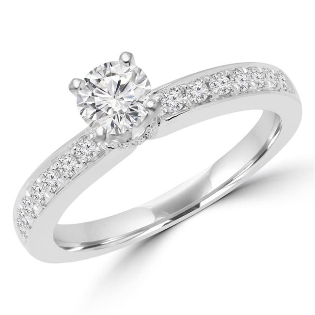 Majesty Diamonds MD170245-6.25 0.6 CTW Round Diamond Solitaire with Accents Engagement Ring in 14K White Gold - Size 6.25 - image 1 de 1