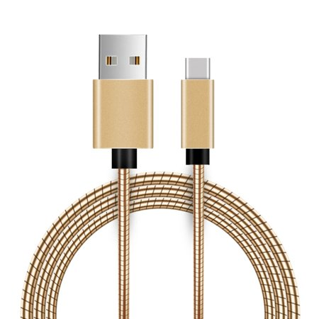 DreamWireless USB 2.0 Type A to Type C Metal Snake USB Charging Cord wih Aluminum Connector Gold for Samsung Galaxy S9 S9+ Plus / Sony Xperia XZ2 / Nintendo Switch