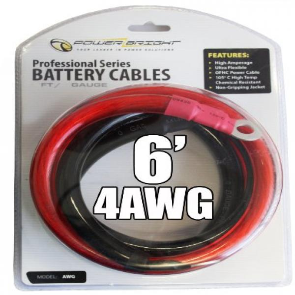 Power Bright 4-AWG6 4 AWG Gauge 6-Foot Professional Series Inverter Cables 1000-1500 watt