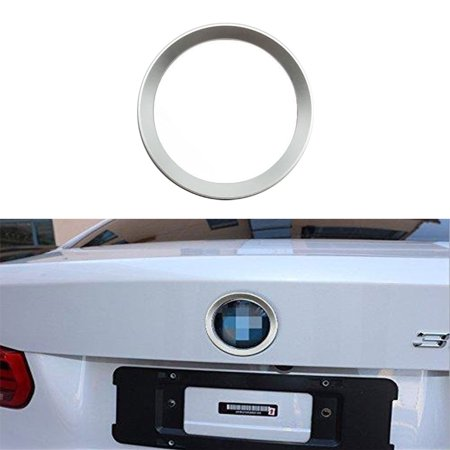 Xotic Tech 1 x Car Front Hood Rear Trunk Logo Emblem Surrounding Ring for BMW 2 3 4 M Series, Auto Exterior Decoration, Chrome Silver 75mm/ 3