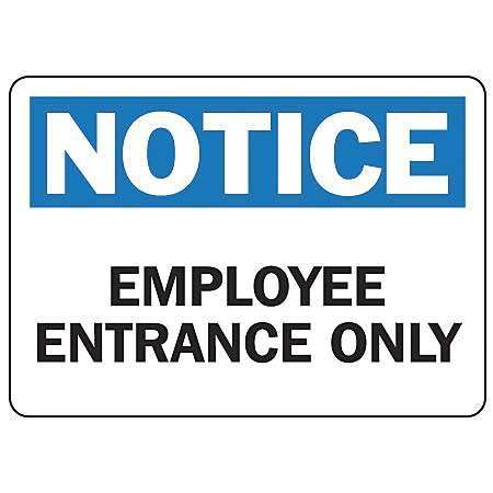 ACCUFORM Employee Entrance Sign,7 x 10In,PLSTC, MADM877VP
