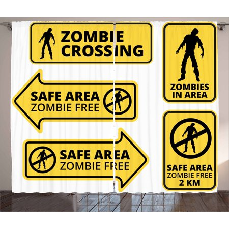 Zombie Decor Curtains 2 Panels Set, Safe Area Zombie Free Safe Protection Zone Caution Sign Horror War Design, Window Drapes for Living Room Bedroom, 108W X 90L Inches, Yellow Black, by (32 Zone Control Panel)