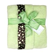 """Raindrops Unisex Baby Flurr Receiving Blanket, Brown With Sage Dots, 28"""" X 36"""""""