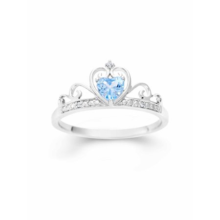 Simulated Blue Topaz Heart and White CZ Sterling Silver Crown Ring - Blue Lantern Ring For Sale