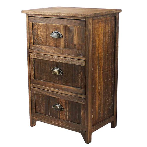 Millwood Pines Steinhauer Classic Rustic Wood Storage 3 Drawer Nightstand