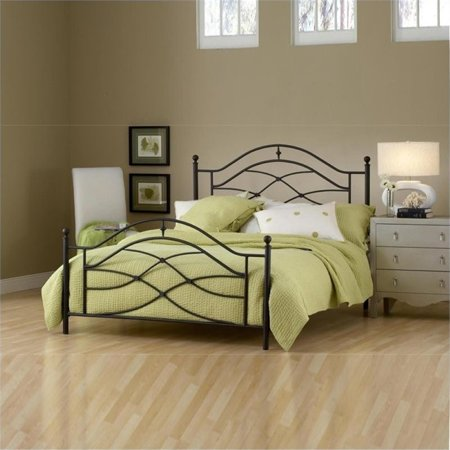 Bowery Hill Full Metal Poster Bed in Black Twinkle
