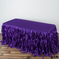 BalsaCircle Сurly Waves Taffeta Banquet Table Skirt - Wedding Party Trade Show Booth Events Linens Decorations