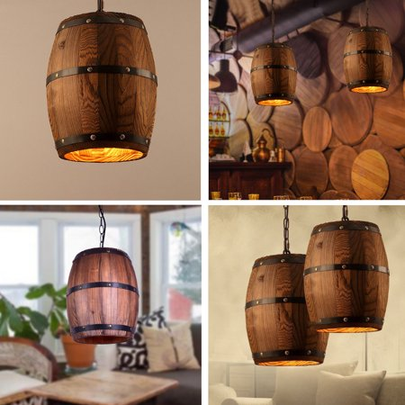 Wine Wood Barrel Hanging Fixture Pendant Ceiling Lamp Lighting Bar Cafe Light ()