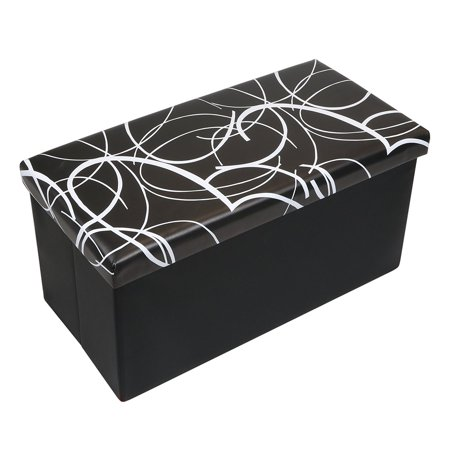 Otto & Ben 30 Inch Swirl Design Memory Foam Folding Storage Ottoman Bench with Faux Leather