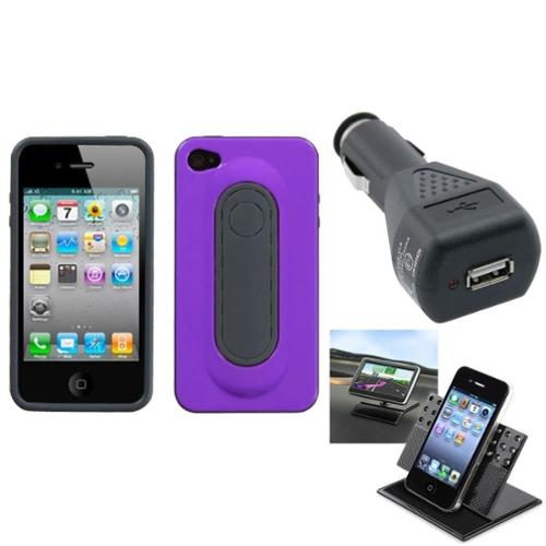 Insten Car Charger Holder Purple Snap Tail Stand Case Cover For APPLE iPhone 4S/4